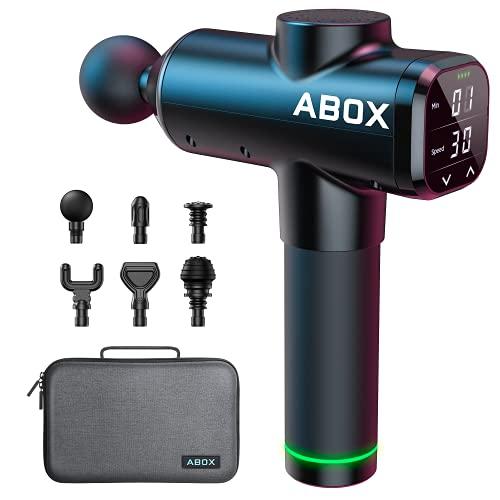 2021 Upgrade ABOX Massagepistole 14 mm Tiefen Massage gun Massagegerät 30 Geschwindigkeiten Muskelmassagepistole mit Timing-Funktion, 6 Massageköpfen für Fitnessstudio, Büro, Zuhause (schwarz)