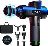 FYLINA massagepistole, Tiefen massagegerät mit 20 Geschwindigkeiten, LED-Anzeige-Touchscreen Massage Gun, elektrisches Handmassagegerät mit 6 Massageköpfen für Nacken Schulter Rücken