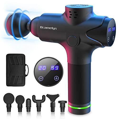Bcamelys Massage Gun, Bcamelys Massagepistole für Nacken Schulter Rücken Muskel Massagegerät Elektronische Mit 6 Massageköpfen